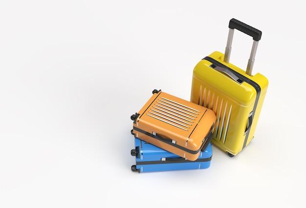 3d-render-koffer aus polycarbonat auf pastellweißem hintergrund.