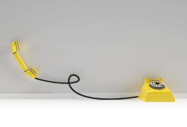 3d-render-konzept der alten telefonkunst 3d-designillustration.