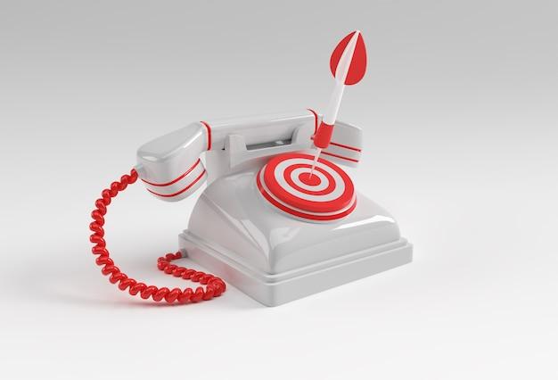 3d-render-konzept des alten telefons mit pfeil und ziel 3d-kunst design illustration.