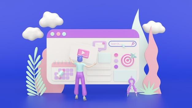 3d-render-konzept-illustrationsmädchen, das eine anwendung oder eine website erstellt