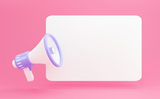 3d-render-megaphon auf leerem banner mit kopienraum. minimaler cartoon-stil, verstärker-kommunikationskonzept mit sprechblase
