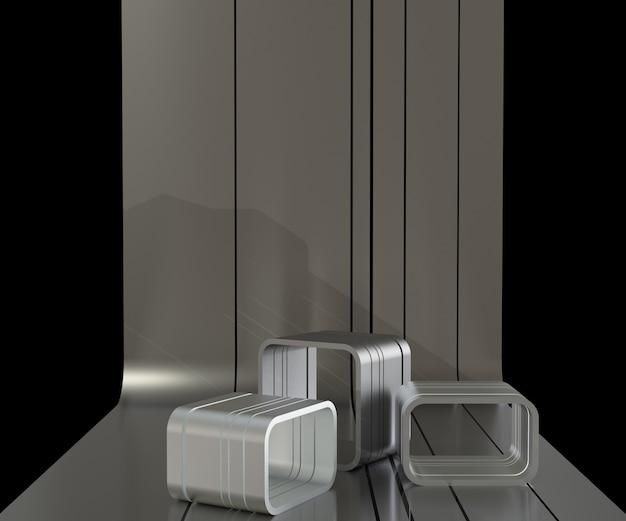 3d render metall podium