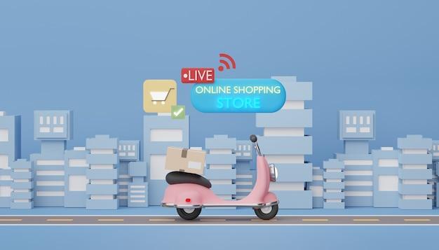 3d-render mini-scooter-paketzustellung auf der straße und in der stadt online-shopping-konzept