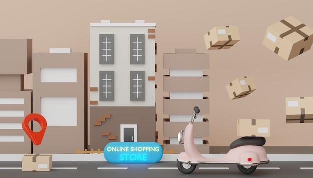 3d-render-mini-scooter-paketzustellung auf der straße und in der stadt