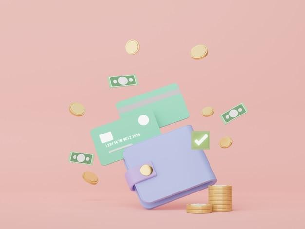 3d-render minimale brieftasche, die mit schwimmenden goldmünzen geldkonzepte finanzplanung umgibt