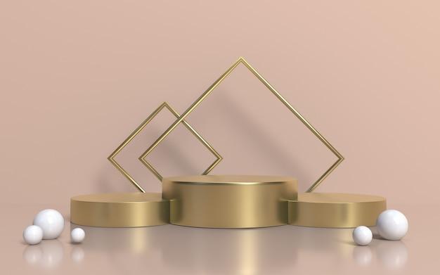 3d render minimalist gold podium stage für die produktpräsentation