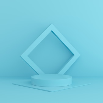 3d render mock up szene blaue farbe. geometrie form podium wand für produkt.
