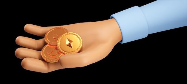 3d-render nahaufnahme hand mit münzen bitcoin, kryptowährung. illustration