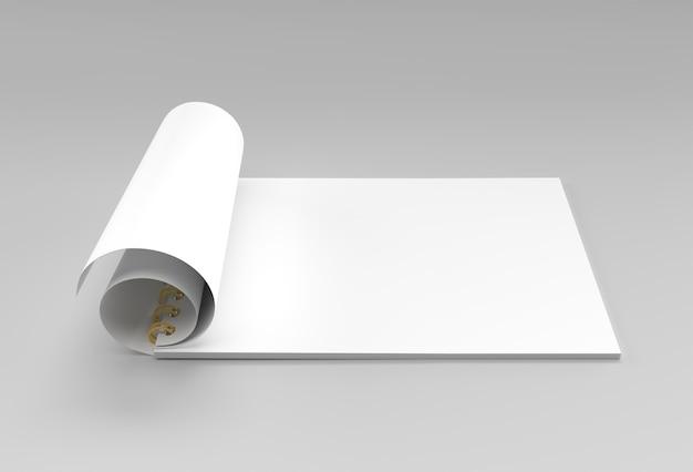 3d-render-notebook-mock-up beim drehen für design und werbung, 3d-darstellung perspektivische ansicht.