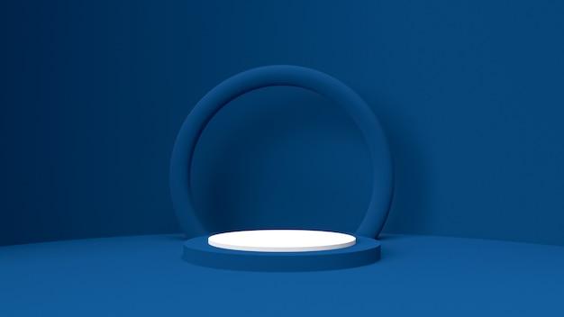 3d render object mockup, abstrakte form und geometrie in blau rot und weiß.