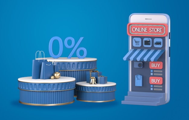 3d render online-shopping auf der website oder mobile application concept.