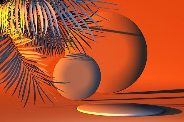 3d-render orangefarbene podeste mit orangefarbenen tropischen blättern auf orangefarbenem hintergrund