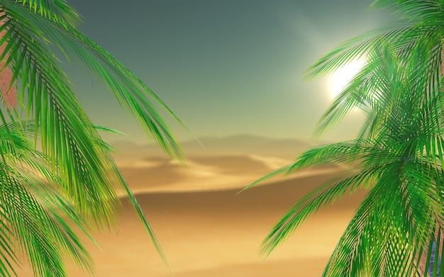 3d-render-palme-blätter mit blick auf eine wüstenszene