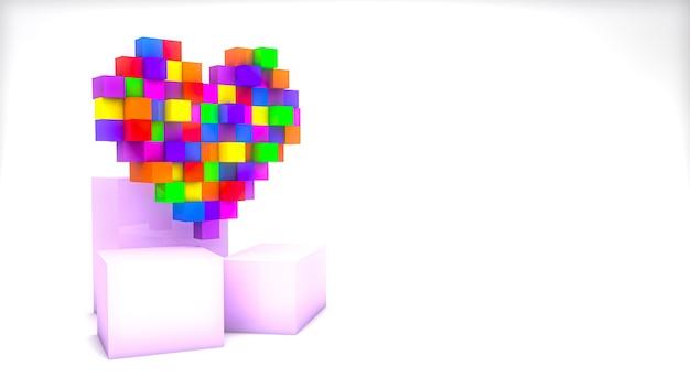 3d-render pixel buntes herz mit würfeln auf weißem hintergrund mit kopierraum