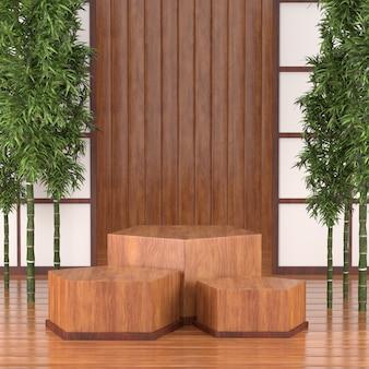3d-render-podium für kosmetische produkte, 3d-holz-podium japan tradition calture-stil.