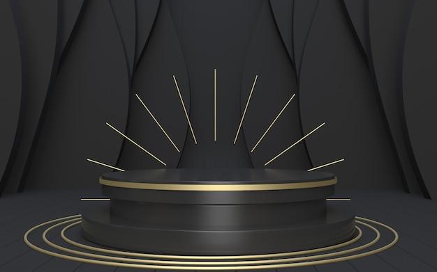 3d-render-podiumsbühne in schwarz und gold für die produktpräsentation