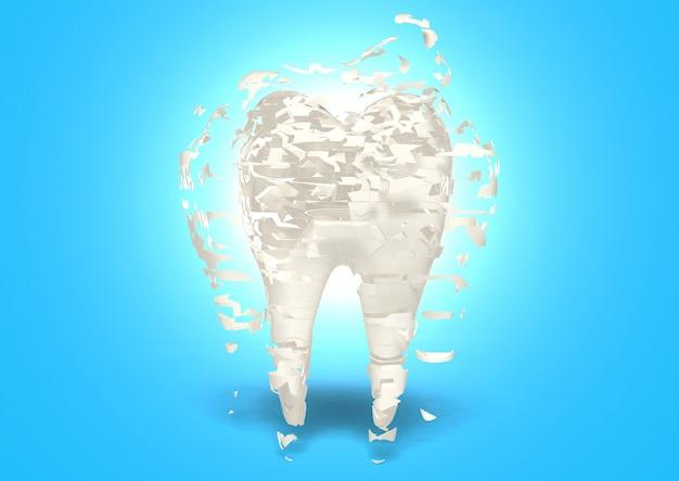 3d render poröser knochen, wenn keine milch vorhanden ist, konzept der stärke von trinkmilch abgeleitet