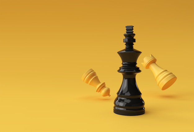 3d render realistic chess king rook und bauernsoldat illustration design.