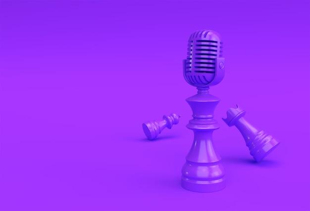 3d render realistic chess king rook und bauernsoldat mit mikrofon illustration design.