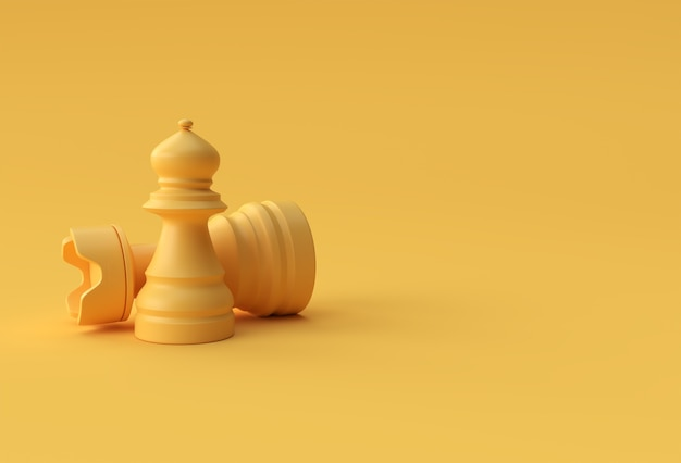 3d render realistisches schach auf pastellgelbem hintergrund illustration design isoliert.