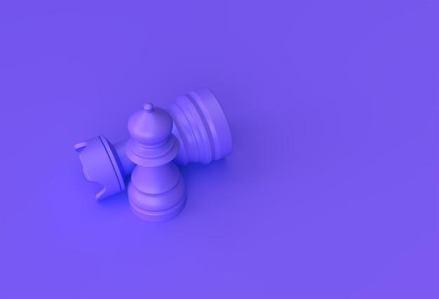 3d render realistisches schach auf pastellviolettem hintergrund illustration design isoliert.