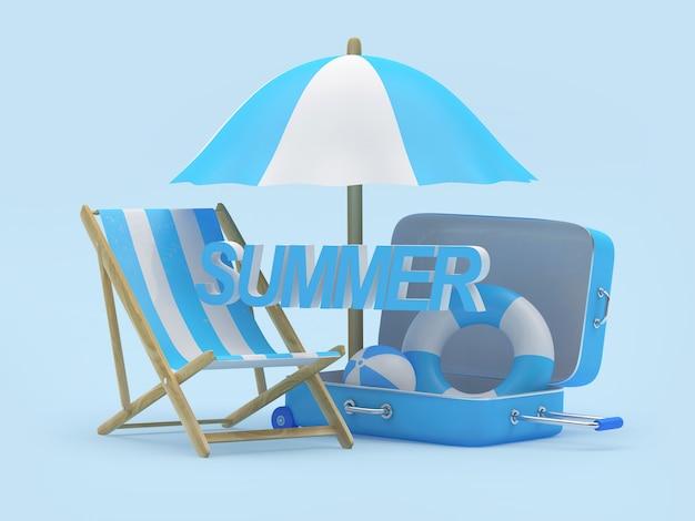 3d render regenschirm, stuhlkugel und rettungsring im koffer mit sommerwort auf blauem hintergrund