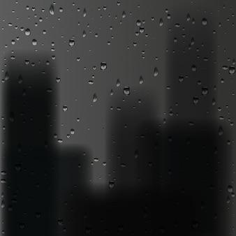 3d-render-regentropfen auf fenster mit schwarzem stadthintergrund