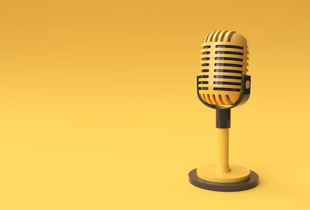3d-render-retro-mikrofon auf kurzem bein und ständer, musikpreismodell-vorlage, karaoke-, radio- und aufnahmestudio-tonausrüstung.