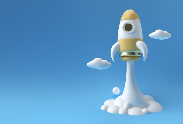 3d render rocket startet raumschiff 3d-illustration design.