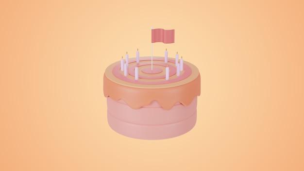 3d-render rosa kuchenziel und erfolgskonzept.