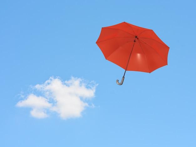 3d render roter regenschirm, der auf hintergrund des blauen himmels schwimmt