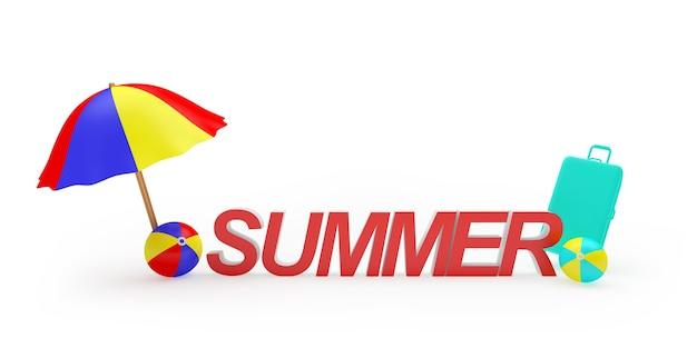 3d-render roter sommertext mit sonnenschirm und bällen und einem koffer auf weißem hintergrund