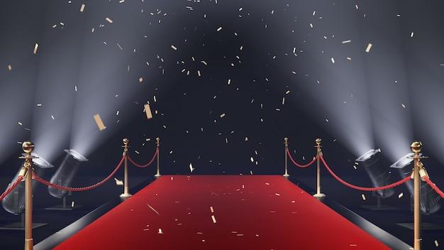 3d-render roter teppich mit konfetti und volumenlicht auf schwarzem hintergrund