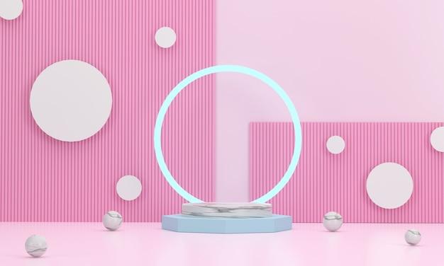 3d render rundes marmorpodest mit einem ring dahinter zum platzieren von geschäftsgegenständen mit einem süßen rosa