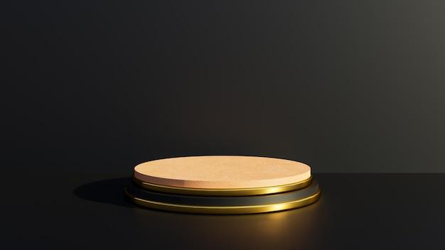 3d-render schwarz-goldener sockel für die anzeige