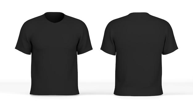 3d render schwarzes t-shirt vorne und hinten