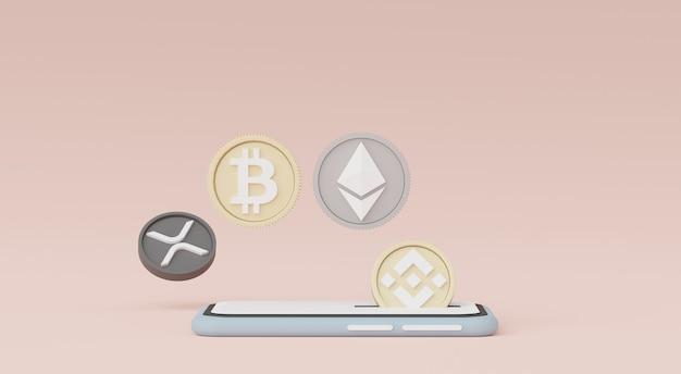 3d-render-smartphone für die arbeit mit kryptowährung bitcoin ethereum binance und ripple coins
