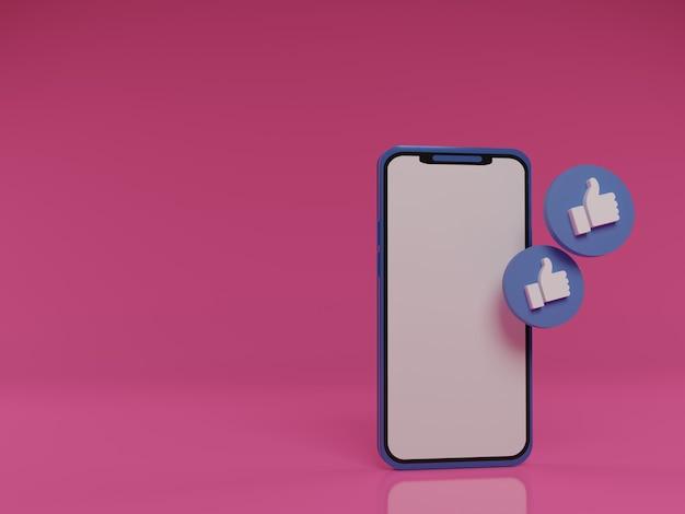 3d-render-smartphone mit schwebenden daumen nach oben als symbol für likes