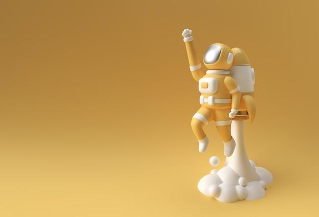 3d render spaceman astronaut fliegen mit rakete 3d-illustration design.