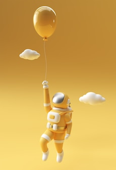 3d render spaceman astronaut floating mit ballon 3d-illustration design.
