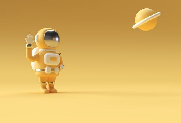 3d render spaceman astronaut hand up geste 3d-illustration design.