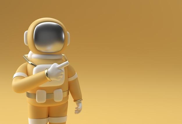 3d render spaceman astronaut hand zeigt finger geste 3d-illustration design.