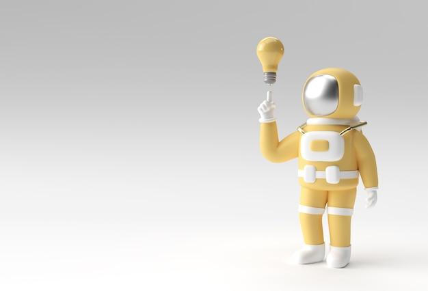 3d render spaceman astronaut hand zeigt finger licht idee glühbirne geste 3d-illustration design.