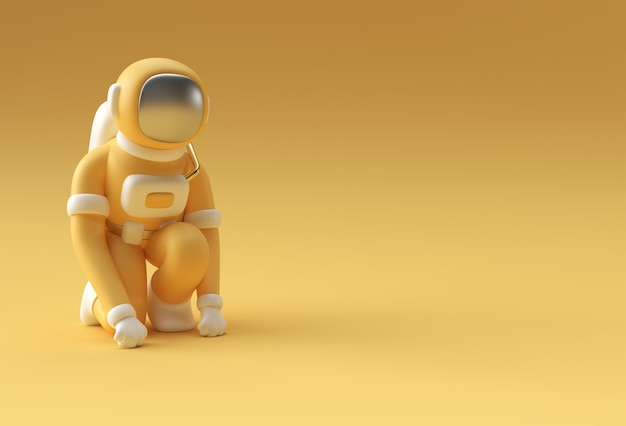 3d render spaceman astronaut running pose 3d-darstellung design.