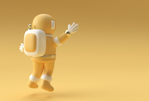 3d render spaceman astronaut springen 3d-illustration design.