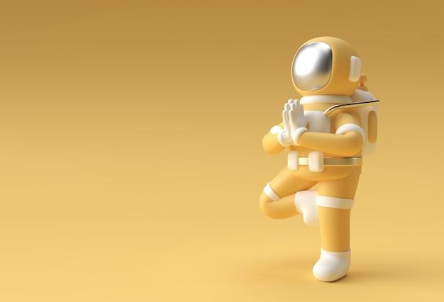 3d render spaceman astronaut steht eine dankbare namaste yoga pose 3d-illustration design.