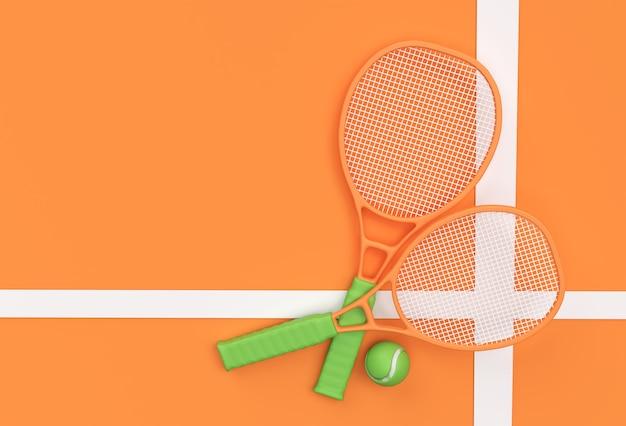 3d render sportausrüstung tennisschläger mit einem ball auf orangem hintergrund.