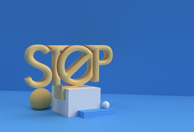 3d render stop calligraphic mit human hand display products advertising. flyer poster illustration design.