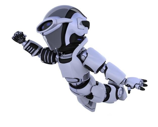 3d render von einem roboter fliegen durch den himmel