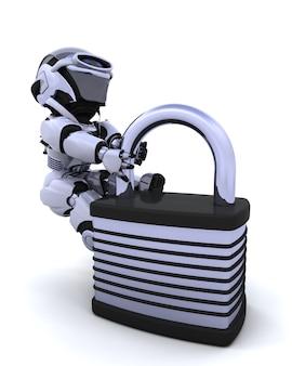 3d render von einem roboter mit vorhängeschloss